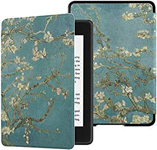 QIYI Kindle Paperwhite Case Fits 10th Generation 2018 Released Flowers Print eBook Reader Covers Smart Accessories PU Leat...