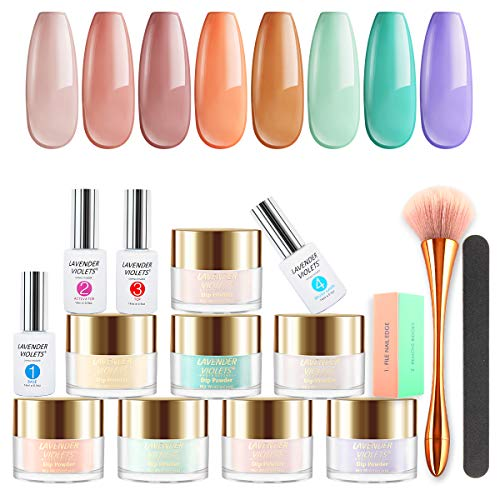 Lavender Violets Fast-Dry-Dip-Powder-Nail Kit 8 Colors Quick Dry Pink Blue Acrylic-Dipping Powder System with Essential Manicure Nail Tool J789