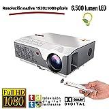 Proyector Full HD Nativo 1080P con TDT, Unicview FHD950 (1920x1080) 6.500 lúmenes LED, Proyector Maxima luminosidad...