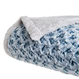 Lavish Home Plush Flower Fleece Sherpa Throw Blanket, Blue