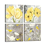 Yellow and Gray Grey Flowers Birds Wall Art Abstract Print Canvas Home Decor Pictures 4 Panels Poster for Bedroom Living Room Office Large Painting Photo Framed Ready to Hang (12x12inchx4)