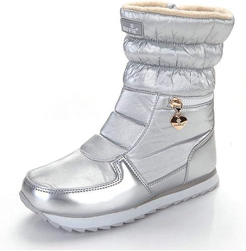 ZHRUI botas de Invierno Moda para mujer botas de Nieve Estilo de Moda zapatos al Aire Libre (Color   plata, tamaño   6.5=40 EU)