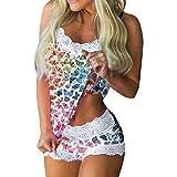 Lady Sexy Impreso Lace Pijamas Homewear, Tirantes Espaguetis Camisoles Tank Tops y pantalones cortos (Mariposa, M)