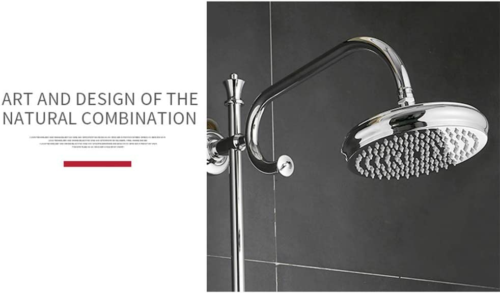 MTYLX Water-Tap Bath Shower Systems Shower Faucets Brass Faucet Round Tube Single Handle Top Rain Shower with Slide Bar Wall-Mounted Water Mixer Tap,Chrome