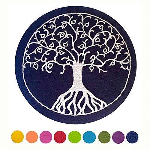 """Maylow -Yoga avec cÅ""""ur  Coussin de méditation -Yoga Coussin avec broderie Arbre de Vie 33x 15cm -Bio Vannure d'épeautre Premium -Housse, coutil et Vannure d'épeautre sont lavable Bleu"""
