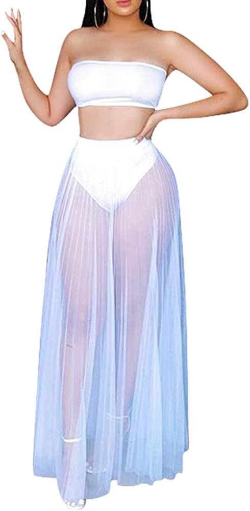 Women Sexy Mesh Sheer 2 Piece Dress Outfit See Through Off Shoulder Tube Top Crop Top Pleated Long Skirts Set