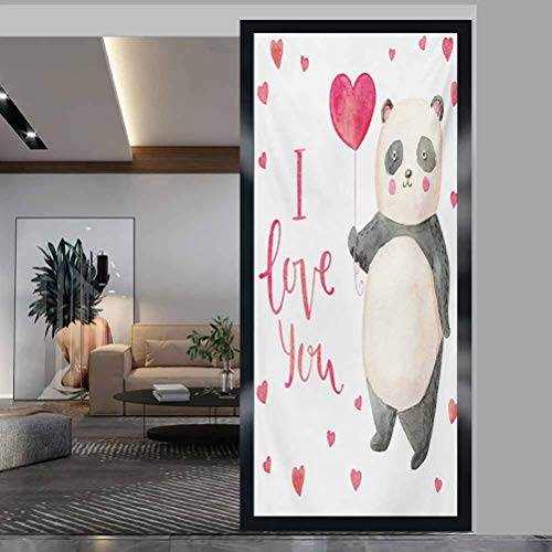 Window Film Stained Glass Stickers, Love You Cute Panda Bear Holding A Balloon Valentines He, Static Glass Film for Bathroom Office Meeting Room Living Room, W17.7xH35.4 Inch