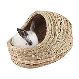Ksruee Hamster Durable Pliable Jouant nid d'animal de Compagnie de Paille tissée à la Main de nid de Sommeil pour Lapin de Cochon d'Inde