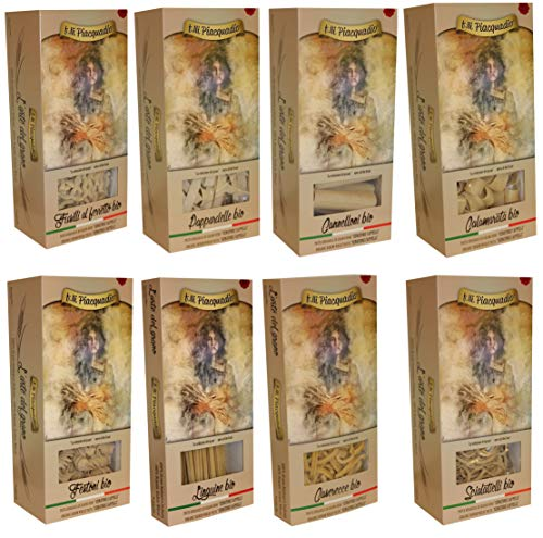 n.8 pz. da 500 g. Selezione Pasta BIO Senatore Cappelli - Raccolta grano 2018/2019: Fusilli, Pappardelle, Cannelloni, Calamarata, Linguine, , Casarecce, Scialatelli, Festoni