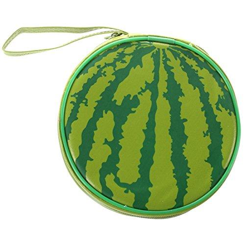 TOOGOO (R) Gruene Wassermelone Muster 24 Kapazitaet CD DVD Runde Mappen Halter