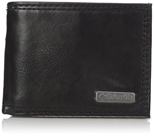 Columbia Men's RFID Leather Extra Capacity Slimfold Wallet, Black Plaque, One Size