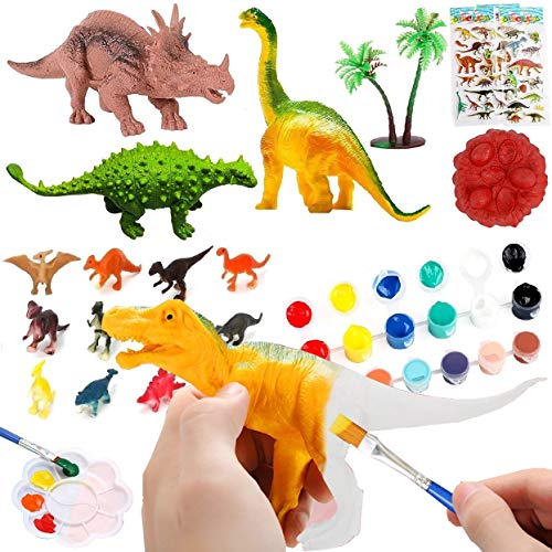 SAI LIFE 41 Pcs Kids Arts and Crafts Set Dinosaur Painting Supplies,Birthday Party Favors, School Classroom Rewards,Carnival Prizes,Treasure Box Prizes,Pinata Goodie Bag Fillers