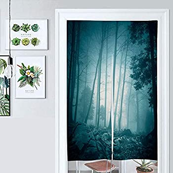 SUPNON Design Japanese Traditional Doorway Curtain Fantasy Turquoise Color Foggy Forest Landscape Door Curtain for Kitchen Bistro Partition Shading Home Decorative IS051877 W33.5 x L59