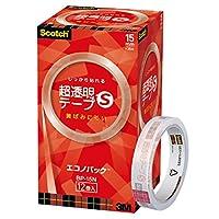 3M スコッチ 超透明テープS 12巻パック 15mm×35m 大巻 BP-15N