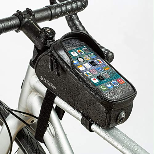 Bolsa Manillar Bicicleta Achort 1L Impermeable Bolsa Bicicleta Cuadro, Accesorios Bicicletas Montaña Impermeable con Ventana para Pantalla Táctil para iPhone Samsung y Otros Smartphones de hasta 6,5''