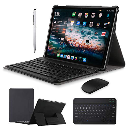 2 in 1 Tablets 10 Inch, Android 9.0 Tablet PC with Wireless Keyboard Case, 4GB RAM 64GB ROM/128GB Computer Tablets, Quad Core, HD/IPS, 8000mAh, 13MP Dual Camera, Dual 4G SIM, WiFi, GPS (Black)