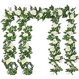 4 Stück Künstliche Rosen Girlande 2,2m Blumengirlande Rosen Rebe Seidenblumen Hängend Kunstblumen Deko Gefälschte Blumen mit grünen Blättern für Hochzeit, Party, Haus, Garten Dekoration (Weiß)