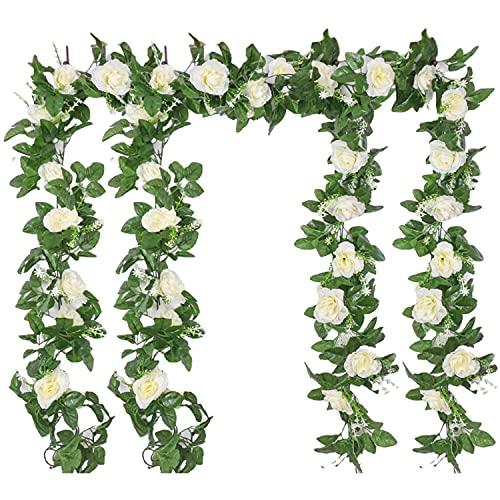 4Pcs 220cm Guirnaldas de Rosas Artificiales Guirnalda Flores Plantas Falsas Guirnalda Colgantes Vides de Rosas Artificiales Guirnalda de Ratán con Hiedra para Decoración de Jardín Boda Hotel(Blanco)