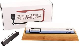 Cutting Edge Premium Whetstone Knife Blade Sharpening Stone 2 Side Grit 1000/6000|Best Whetstone Sharpener|NonSlip Bamboo Base|Angle Guide|Razor Sharp Kitchen Knives|Set|Kit|Gifts|Honing tool