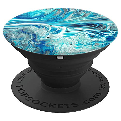 Blue Marble Watercolour PopSockets Grip and Stand for Phones and Tablets