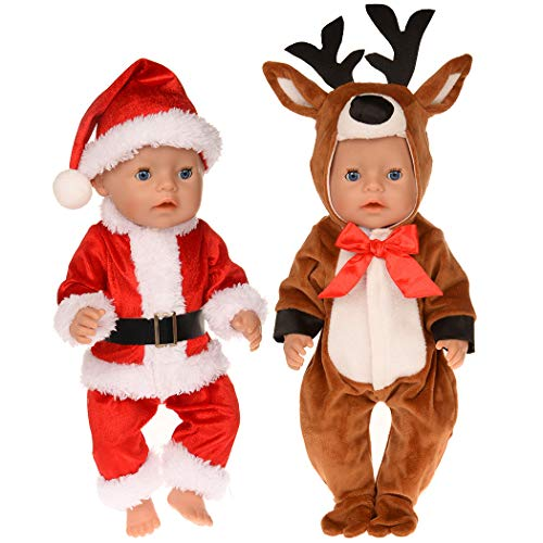 ebuddy Christmas Custume With Reindeer,Santa Claus Design 2-sets Doll Clothes Accessories for 43cm/17inch New Born Baby Dolls and 18inch American Girl Dolls