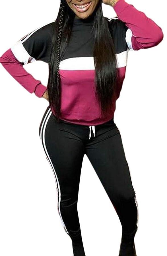 暖炉風変わりなトーナメントレディースロングスリーブカラーブロックスウェットシャツ衣装2ピーストラックスーツスポーツウェア