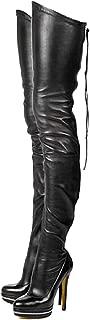 2019 Women Thin High Heel Thigh High Boots PU Leather Platform Booties Winter Zipper Over The Knee Boots