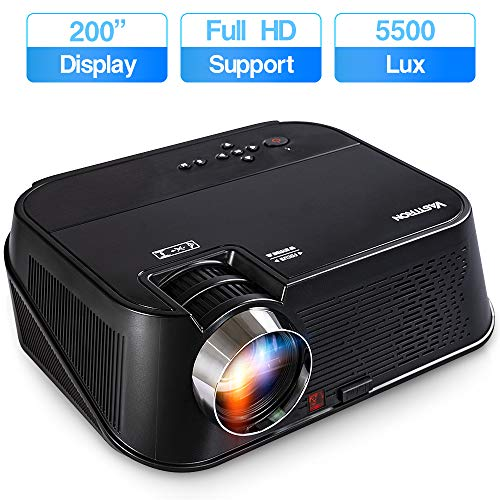 "Vasttron HD Home Video Projector Native 1280x 800 5500Lux with 200"" Display Home Theater Movie Projector, 1080P Supported Compatible with Fire TV Stick, PS4, HDMI, VGA, USB"