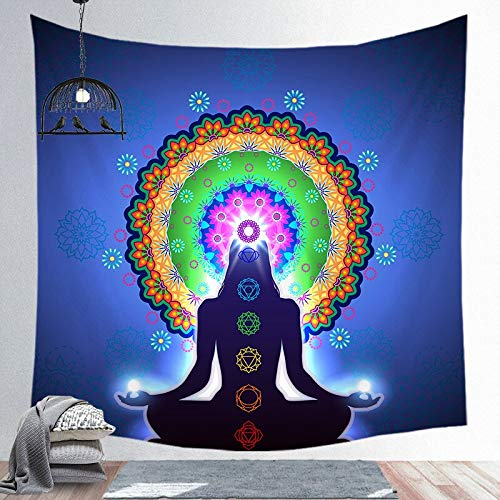 KHKJ Estatua de Buda Indio Tapiz Sala de Estar Dormitorio Revestimiento de Pared Meditación Psicodélico Yoga Colgante de Pared Hippie Boho Decoración A3 150x130cm