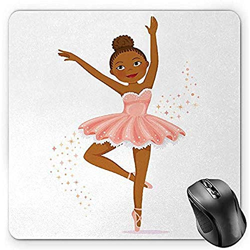 Muis Mat Meisjes Muis Pad, Ballerina Dansende Dochter Klassieke Prestaties Hobby Verjaardag Kids Baby Thema, Standaard Grootte Rechthoek Antislip Rubber Mousepad, Rose En Bruin 25X30Cm