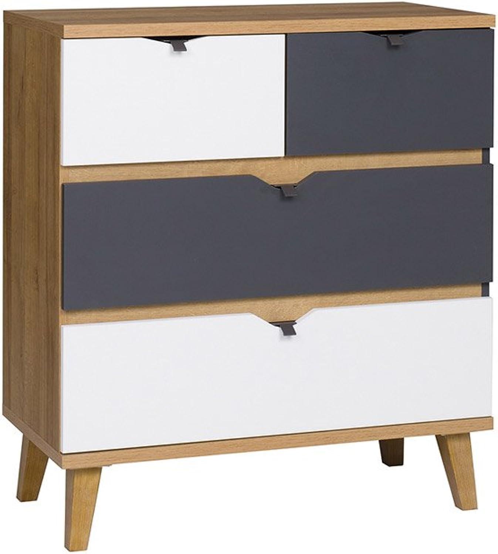 Mirjan24  Kommode Memone TM05 mit 4 Schubladen Sideboard Schubladenkommode für Jugendzimmer Highboard Kleiderschrank Schrank (Eiche Gold Graphit)