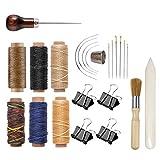 Bookbinding Kit, Kootiko Bookbinding Supplies, Book Binding Starter Tools Set with Real Bone Folder,Paper Awl, Large-Eye Needles, Glue Brush, Wax Thread for Handmade DIY Books