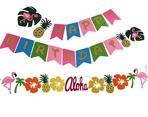 KEFAN Happy Birthday Flamingo Summer Tropical Garland for Hawaiian Luau Birthday Party Festival Decoration
