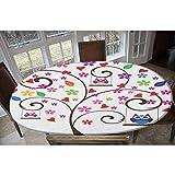 LCGGDB Mantel de poliéster elástico ajustable, diseño artístico rectangular y ovalado, para mesas de hasta 122 cm de ancho x 172 cm de largo.