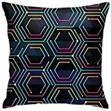 SSHELEY Neon Color Tech Pattern Funda de Almohada Soft Throw Pillow Impresión a Doble Cara Sofá Funda de Almohada Square