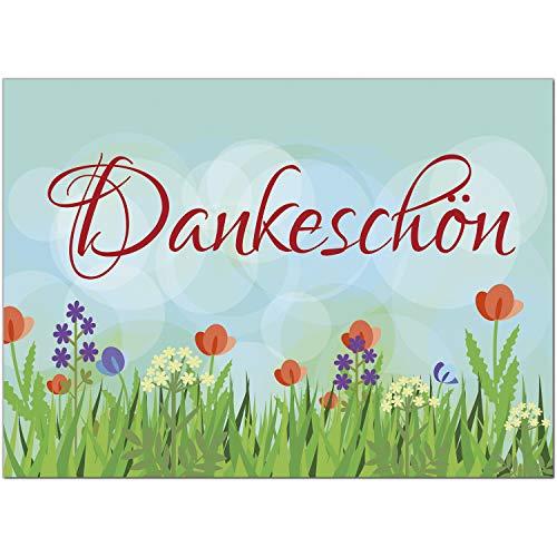 15 x Dankeskarten mit Umschlag - Blumenwiese - Danksagungskarten, Danke sagen, nach Hochzeit, Geburt, Baby, Taufe, Geburtstag, Kommunion, Konfirmation, Jugendweihe