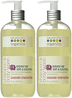 Nature's Baby Organics Shampoo & Body Wash, Lavender Chamomile, 8 oz - Made with Organic Ingredients, Cruelty Free, Hypoallergenic, No Parabens or Glutens