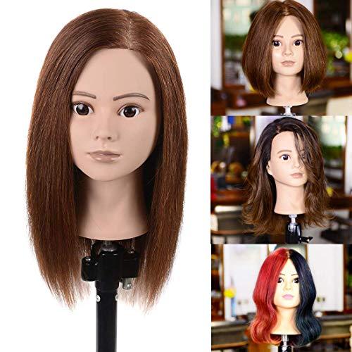 Natural Secret 100% Human Hair Mannequin Head with Human Hair Training Head for Hairdresser Doll Heads Manikin Head Dark Brown 13 Inches