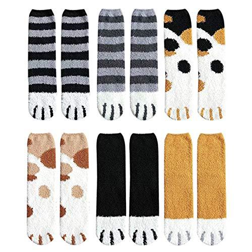 Simon Lee Woodham 6 Pares Calcetines Mullidos, Calcetines con Forma de Pata de Gato, Calcetines de Felpa Súper Suaves Cálidos para Mujer, Calcetines Gruesos para el Hogar, para el Invierno