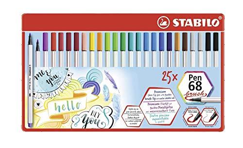 Premium-Filzstift mit Pinselspitze für variable Strichstärken - STABILO Pen 68 brush - 25er Metalletui - mit 19 verschiedenen Farben
