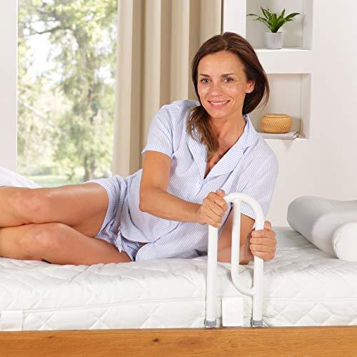 maxVitalis Bett Aufstehhilfe Bettgriff - Für mehr Unabhängigkeit und Komfort, Höhenverstellbarer Haltegriff für Senioren, weiß