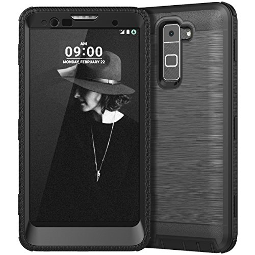 CinoCase LG Stylo 2 Case, LG Stylo 2 Plus Case, Heavy Duty Protective Case Hybrid TPU Bumper Shockproof Case with Brushed Metal Texture Hard PC Back for LG Stylo 2(LS775)/Stylus 2 Black