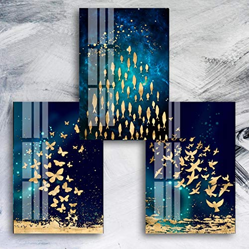 "Sungup Canvas Painting Print Poster Blue and Gold Abstract Animals Canvas Paintings Family Wall Art Posters Fashion Wall Art No Frame 20""x28""(50x70cm)×3"