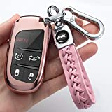 Key Fob Cover Case for 2017 2018 2016 Jeep Grand Cherokee Wrangler Compass Cherokee Renegade Patriot Grand Comander 3 4 5 Buttons Protector,Pink