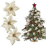 tangger TANGGA 30PCS Flores para Decoracion Arbol de Navidad 13cm,Flores Artificiales Blancas Adornos para Arbol de Navidad Decoración de Corona
