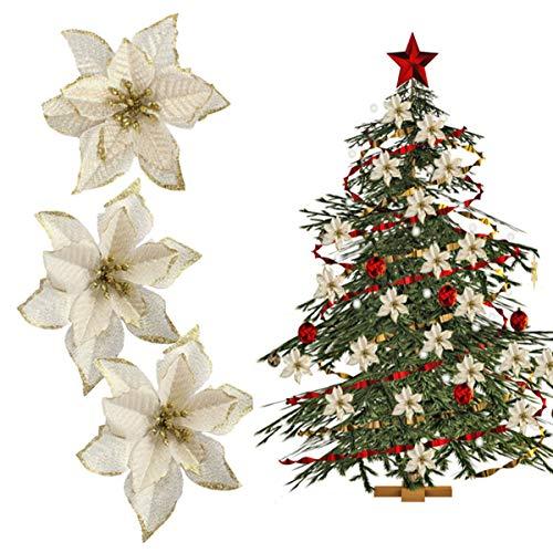 tangger TANGGA 30PCS Flores para Decoracion Arbol de Navidad 13cm,Flores Artificiales Blancas Adornos para Arbol de Navidad...
