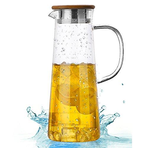 TAMUME 1.6 Liter Vaso Jarra de Agua Con Tapa de Bambú y Bocal Dual para Vaso Tetera con Colador