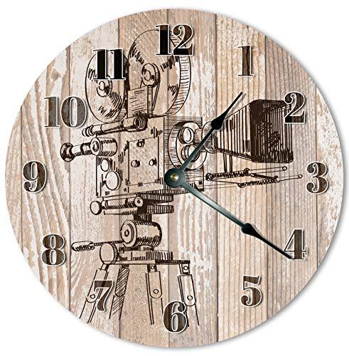 Reloj de pared redondo de 30,5 cm, funciona con pilas, con números arábigos, reloj de cámara de vídeo vintage, decoración del hogar