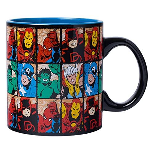 Silver Buffalo Marvel Avengers Comics Grid Jumbo, 20-ounces Ceramic Mug, Multicolor