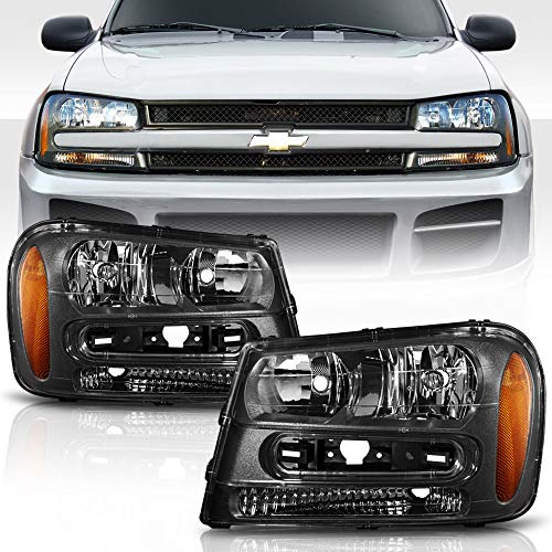 ACANII - For Black 2002-2009 Chevy Trailblazer w/Full Width Grille Headlights Headlamps Pair Set Replacement Left+Right